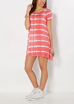 Coral Tie-Dyed Tent Dress
