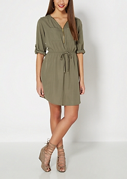 Olive Green Zipped Shirt Dress