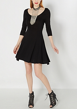 Black Princess Skater Dress