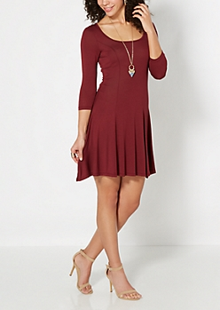 Burgundy Princess Skater Dress