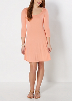 Peach Princess Skater Dress