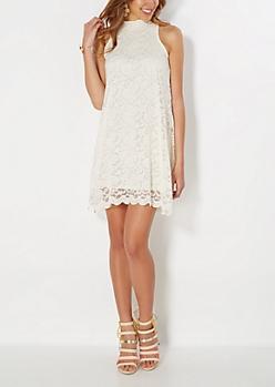 Ivory High Neck Lace Shift Dress