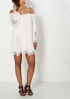 Crochet Bell Sleeve Off Shoulder Dress