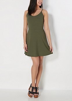 Olive Ribbed Knit Cami Skater Dress