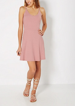 Pink Ribbed Knit Cami Skater Dress