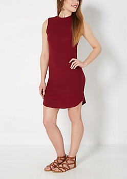 Burgundy Mock Neck Crepe Dress