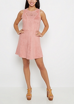 Pink Suede Crochet Yoke Dress