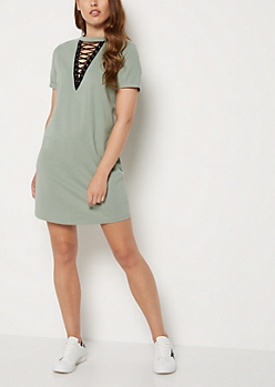 Olive Lace Up Choker Dress