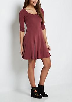 Burgundy Princess Skater Dress