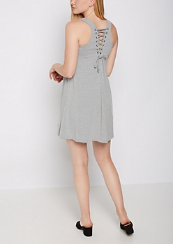 Heather Grey Lace Up Back Dress