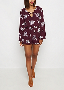 Plum Rose Cross-Neck Romper