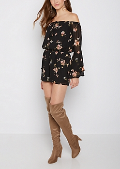 Black Floral Off Shoulder Bell Sleeve Romper