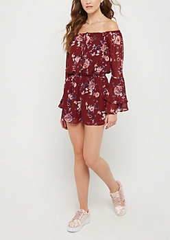 Burgundy Floral Off Shoulder Bell Sleeve Romper