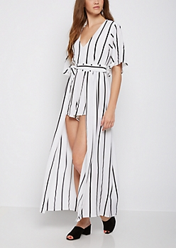 Striped V Neck Maxi Romper