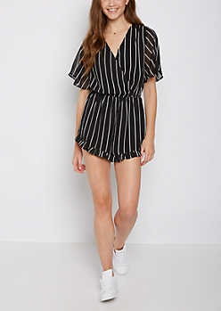 Striped Surplice Ruffled Romper