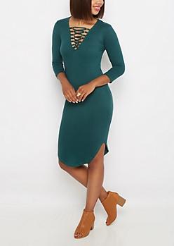 Teal Lace-Up Soft Knit Dress