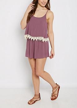 Purple Crochet Flounce Romper