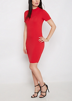 Red Crepe Mock Neck Bodycon Dress
