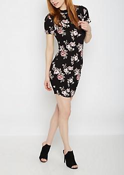 Black Rose Crepe Mock Neck Bodycon Dress