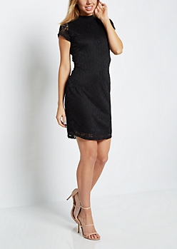 Black Floral Lace Mock Neck Dress
