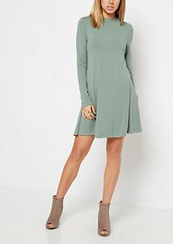 Olive Crepe Mock Neck Swing Dress