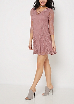 Lavender Vintage Lace Skater Dress