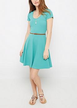 Mint Textured Braided Belt Skater Dress