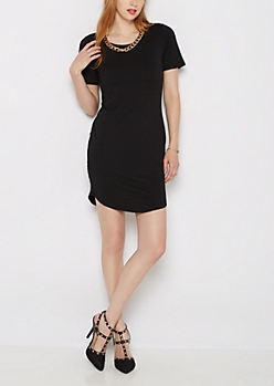 Black Mod Embossed Bodycon Dress & Necklace