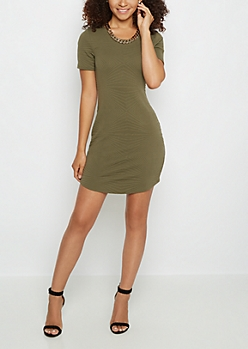 Olive Mod Embossed Bodycon Dress & Necklace