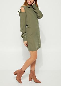 Olive Cold Shoulder Shirt Dress