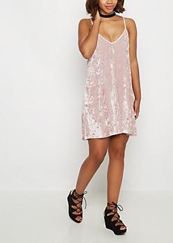 Crushed Velvet Shift Cami Dress