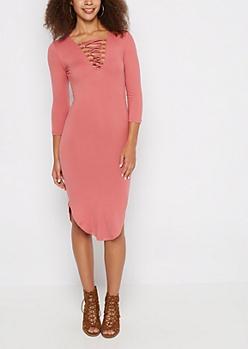Pink Lattice Yoke Midi Dress