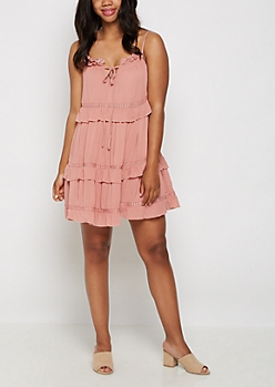 Pink Ruffled Tiered Babydoll Dress
