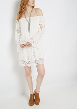 White Crochet Challis Off-Shoulder Dress