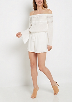 Daisy Striped Off-Shoulder Romper