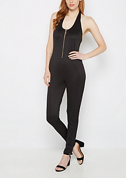Black Zip Up Halter Neck Jumpsuit