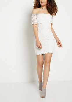 Lace Off Shoulder Bodycon Dress