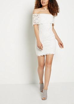 Lace Off Shoulder Bodycon Dress