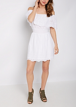 Eyelet Ruffle Off Shoulder Dress