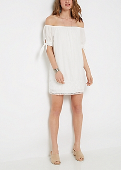 Chiffon Off-Shoulder Shift Dress