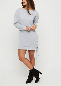 Heather Gray Lace Up Seam Sweatshirt Dress