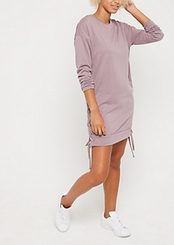 Lavender Lace Up Seam Sweatshirt Dress