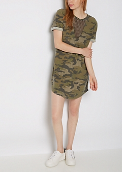 Camo Mesh V Neck T Shirt Dress