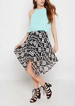 Aztec Print Popover Sharkbite Dress