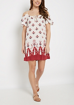 Floral Boho Cold Shoulder Dress