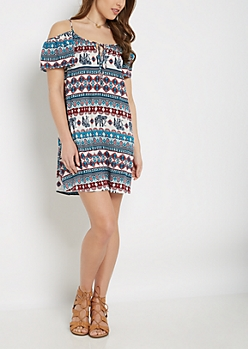 Tribal Elephant Cold Shoulder Dress