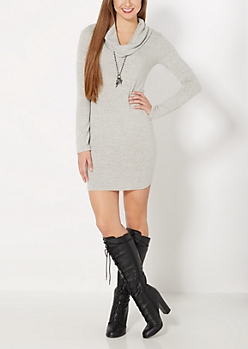 Heather Gray Cowl Neck Sweater Dress