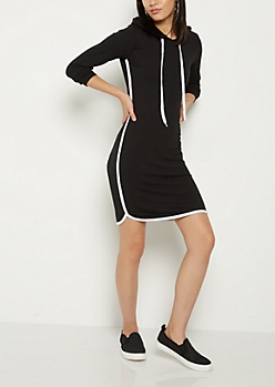 Black Hooded Dolphin Hem Dress