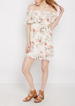 Ivory Floral Ruffled Off Shoulder Dress