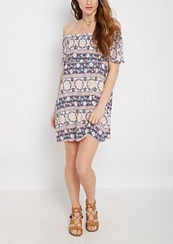 Boho Elephant Ruffled Off Shoulder Dress